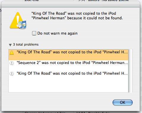 iTunes 7 ipod errors