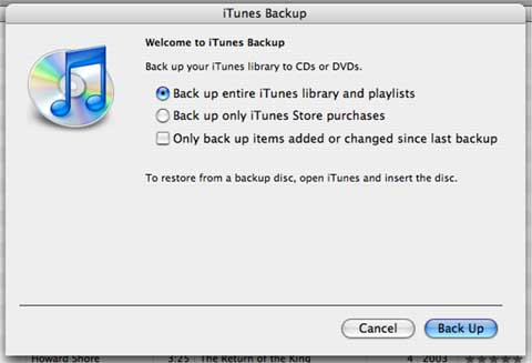 iTunes 7 backup options