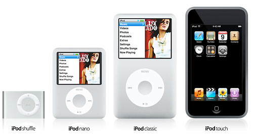 iPods shuffle nano video classic and touch