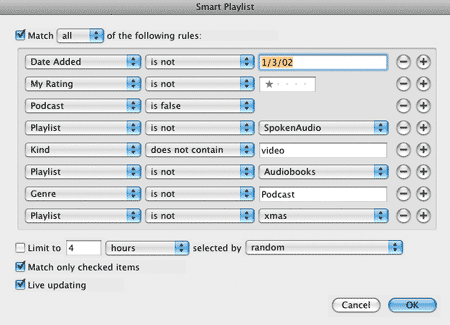 master tunequest smart playlist selectors