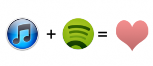 itunes + spotify = happy music